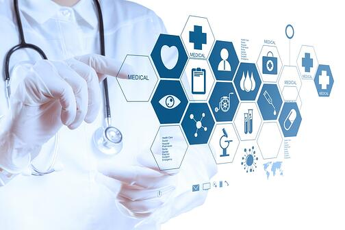 Medicine doctor hand working with modern computer interface as medical concept-min