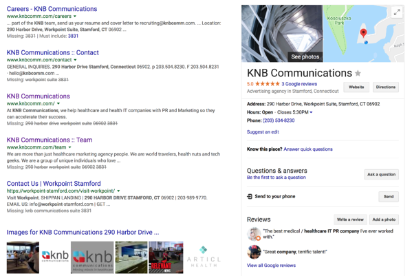 KNB Communications Healthcare Marketing and PR search listing