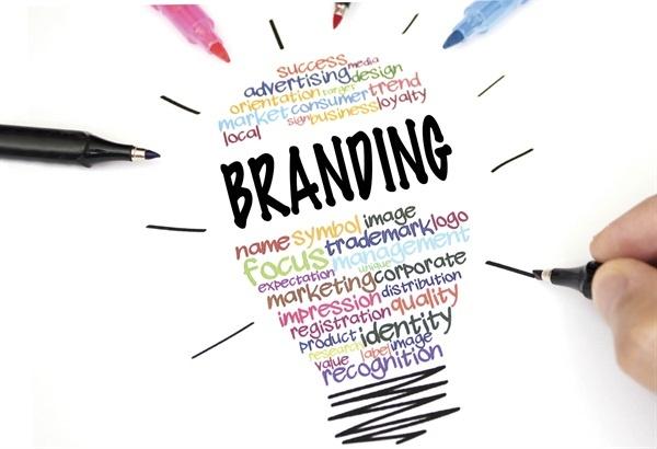 Light bulb illustration listing words that develop branding